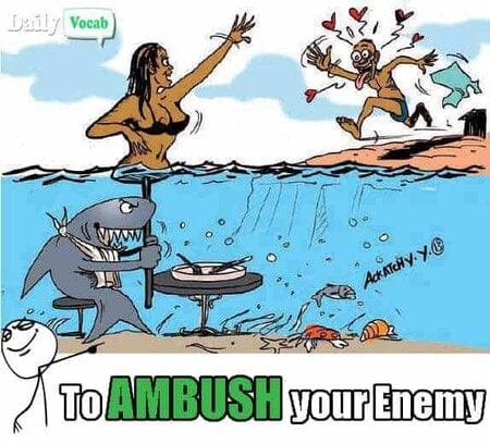 Ambush meaning in Hindi with meme
