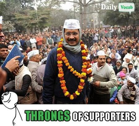 Throng Kejriwal meme with Hindi meaning