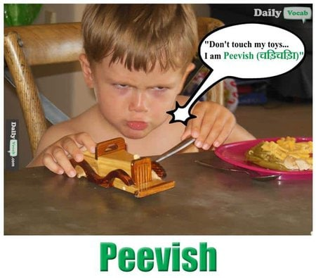 peevish English Hindi meaning