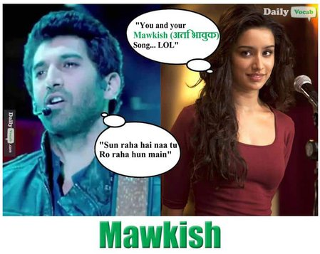 Mawkish English Hindi meaning