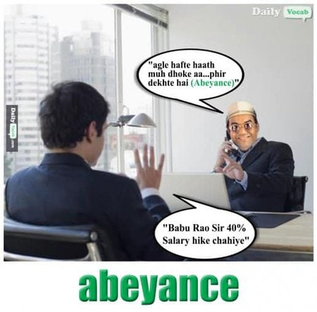abeyance English Hindi meaning