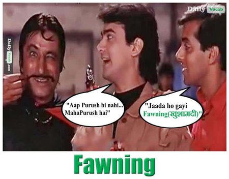 fawning English Hindi meaning