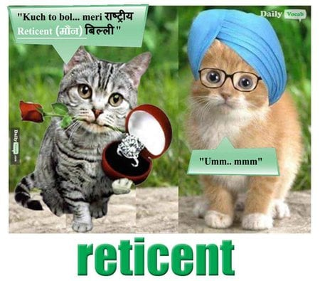 reticent English Hindi meaningreticent English Hindi meaning