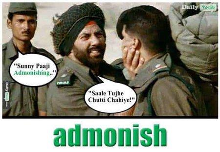Admonish English Hindi meaning