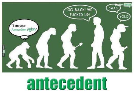 Antecedent English Hindi Meaning