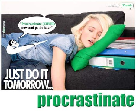 Procrastinate English Hindi meaning