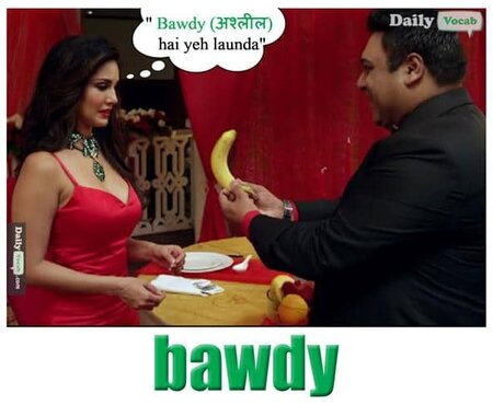 bawdy English Hindi meaning