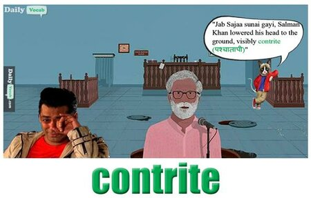 contrite English Hindi meaning