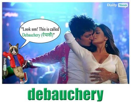 debauchery English Hindi meaning