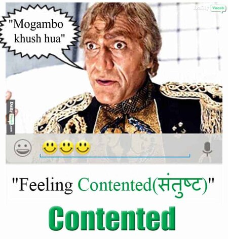 Contented English Hindi meaning