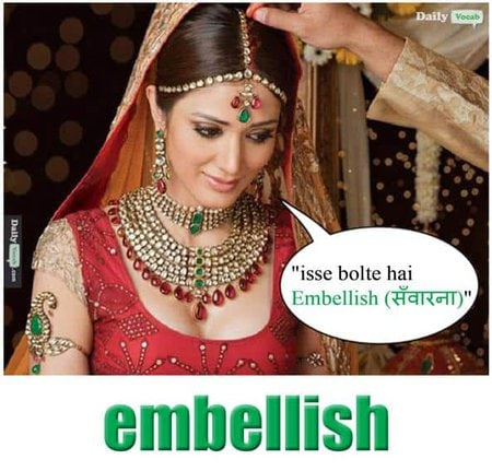 Embellish English Hindi meaning