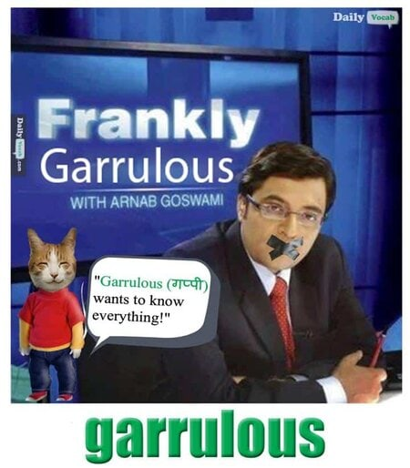 Garrulous English Hindi meaning