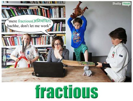 fractious English Hindi meaning
