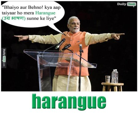 Harangue English Hindi meaning