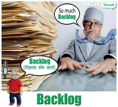 backlog English Hindi meaning