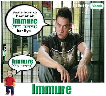 immure meaning in Hindi