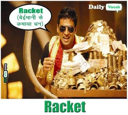racket English Hindi meaning