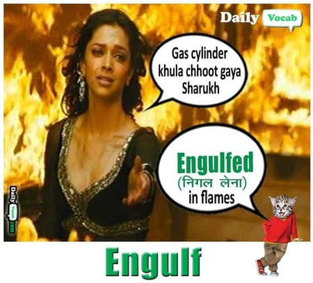 Engulf meaning in Hindi