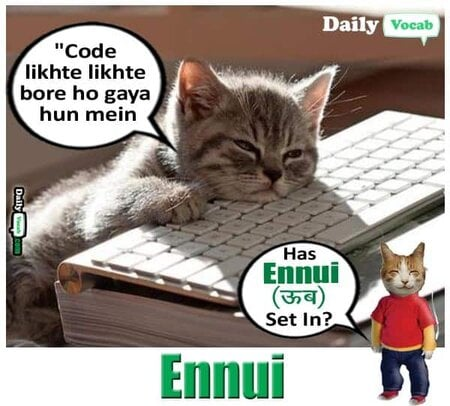 Ennui meaning in Hindi