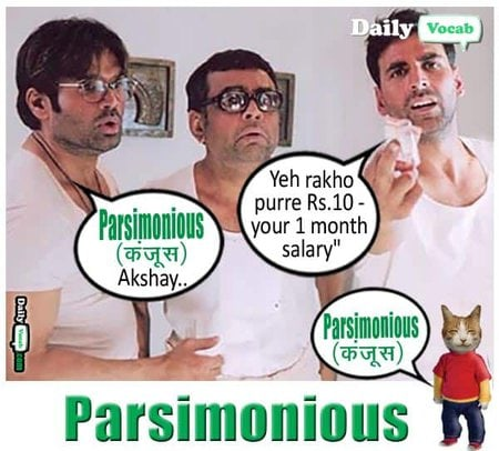 Parsimonious meaning in Hindi