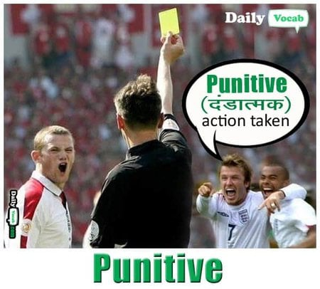 Punitive meaning in Hindi