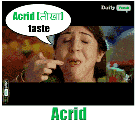 acrid meaning in Hindi
