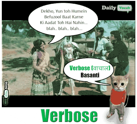 verbose meaning in Hindi