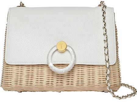 Ted Baker London Janiya Faux Leather & Woven Rattan Crossbody Bag ! 40plusstyle.com
