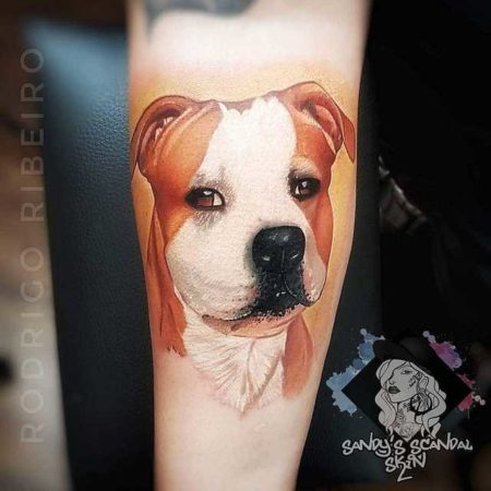 Собака тату на руке