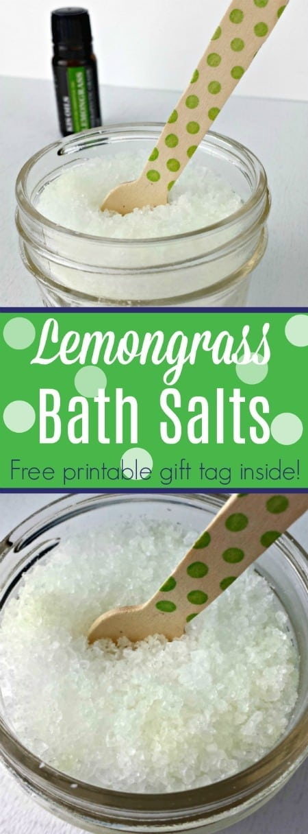 These lemongrass bath salts smell divine! Grab this DIY and the free printable gift tag inside!