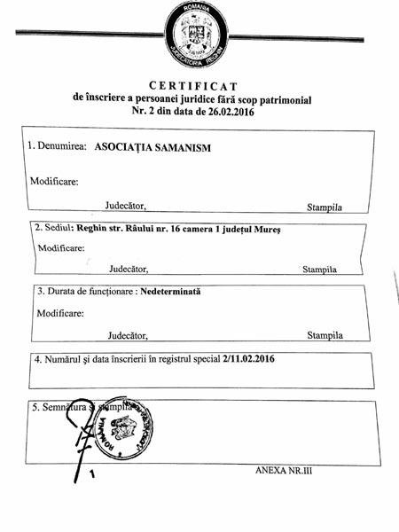 Schamanismus e.V. in Rumänien - Urkunde Asociatia Samanism