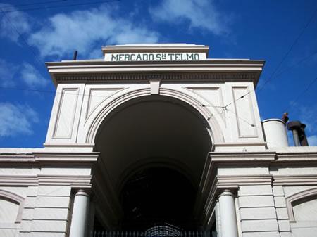 The exterior arch of the historic San Telmo market, or Mercado de San Telmo in the San Telmo neighborhood of Buenos Aires