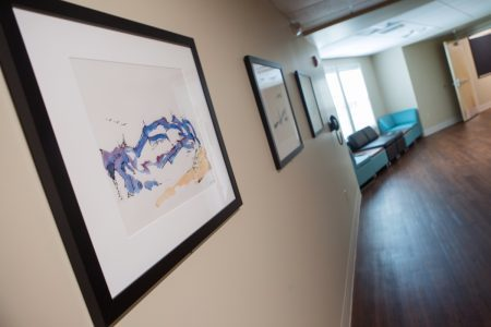 Art created by Christopher Cobb, grandson of Ty Cobb, on display in the new Brenau residence hall. The art was donated by Dr. John Burd and Tom Paris. (AJ Reynolds/Brenau University)