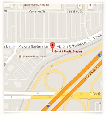 Map, Directions, Address Information of Gemini Plastic Surgery in Rancho Cucamonga