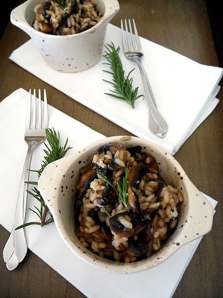 Balsamic Roasted Mushroom Risotto with Rosemary