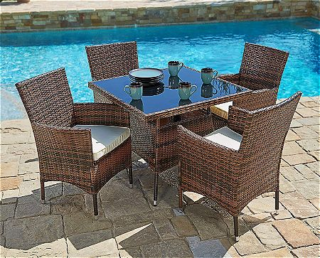 Suncrown Outdoor Furniture All-Weather Square Wicker Dining Table and Chairs (5-Piece Set)