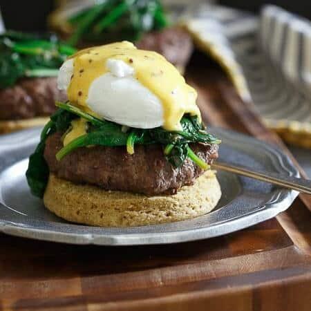 Open Faced Burger Eggs Benedict