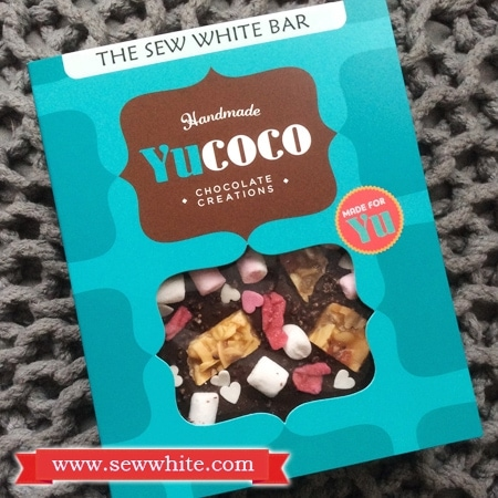 Yucoco personalised chocolate bar with marshmallows and pieces of florentines