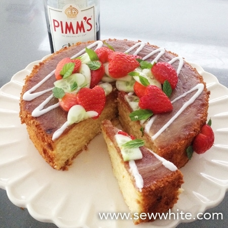 The finished pimm's cake ready to be served