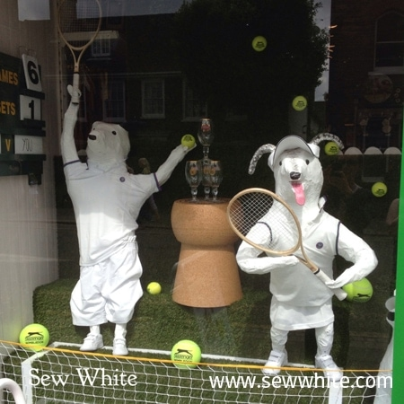 Dogs playing tennis in a shop window