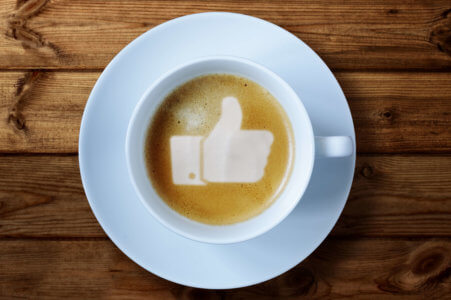 Facebook symbol in coffee froth