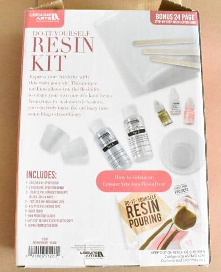 Do-It-Yourself Resin Kit Back of Box