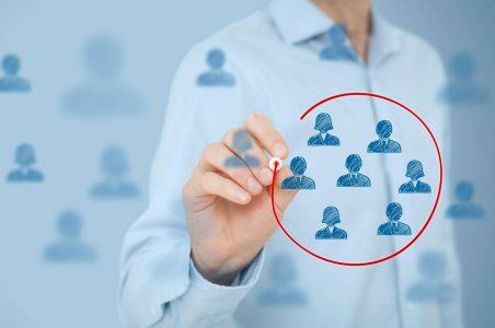 Man-selecting-customer-group