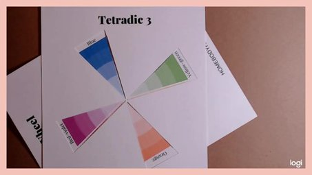 tetradic color scheme on color wheel:  blue, orange, yellow-green, red-violet