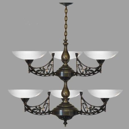 Art Nouveau 6 arm light pendant opal glass shadeswith opal dish glass