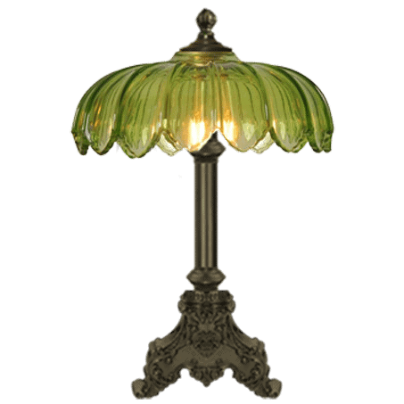 Art Nouveau single antique table lamp with green glass shade