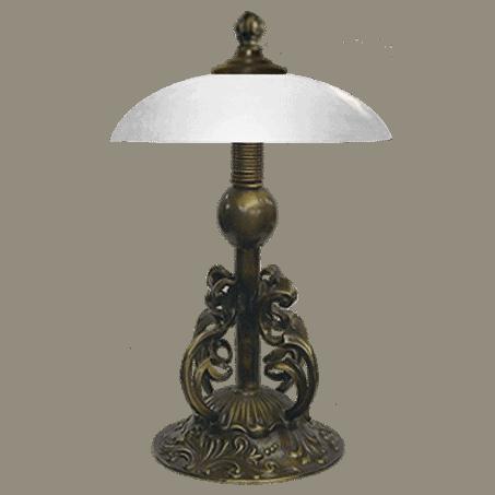 Art Nouveau Single antique finish table lamp with opal glass
