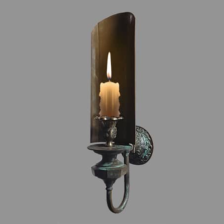Rustic candle reflector wall light with smoke guard