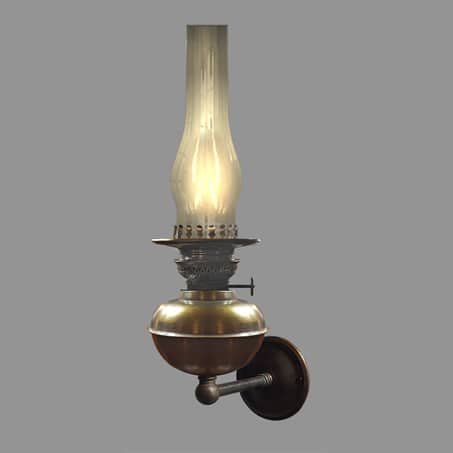 Oil Lamp wall light Antique with Fluted glass chimney