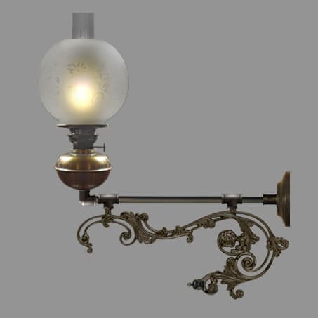 Oil wall light with long decorative scroll arm etched globe shade